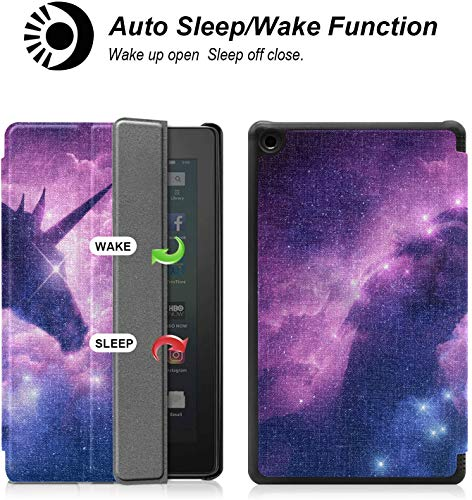 Cover Wandkunst Bilder Einhorn Silhouette In Galaxy Nebula Cloud Wandkunst Für Dekor Für Feuer 7 Tablet (9. Generation, Release 2019) Leicht Mit Auto Schlaf/Wach
