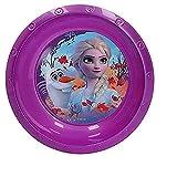 Hogar y Mas Plato Hondo Plástico Duro Infantil X2, Reutilizable para Niños 260ML. Modelo Frozen II, Vajillas Disney ø14,5 cm