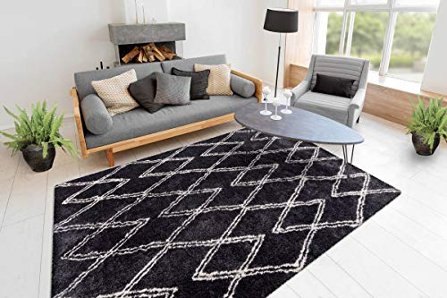 One Couture - Tappeto a pelo lungo, stile Shaggy Berber, a rombi, per soggiorno, colore nero, per sala da pranzo, corridoio, dimensioni: 160 x 230 cm