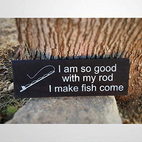 """EricauBird - Cartelli divertenti da pesca, con scritta in lingua inglese """"Moglie di pesca in mare profondo, per la pesca a mosca, decorazione per la casa, idea regalo per papà e figlio"""