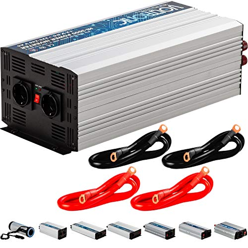 VOLTRONIC® MODIFIZIERTER Sinus Spannungswandler 3000W mit E-Kennzeichen, 12V auf 230V, Stromwandler Inverter Wechselrichter Auto PKW