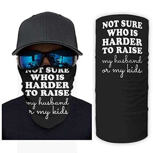 CCMugshop Máscara de pasamontaña, no está seguro de quién es más difícil para educar a mi hombre o a mis hijos, con tubo de protección UV, color blanco, talla única