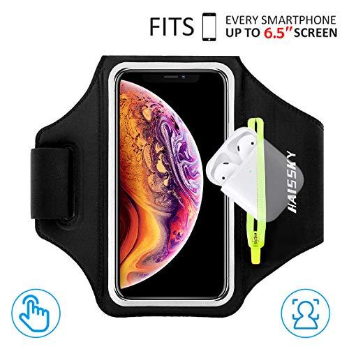 Sportarmband Handytasche Running Armband für iPhone 11/11 Pro/XR/XS/8/7/6S, Samsung Galaxy A 50s/A 30s/S10/S9/S8, Huawei Mate 30 Pro/P30/P20, bis zu 6,5