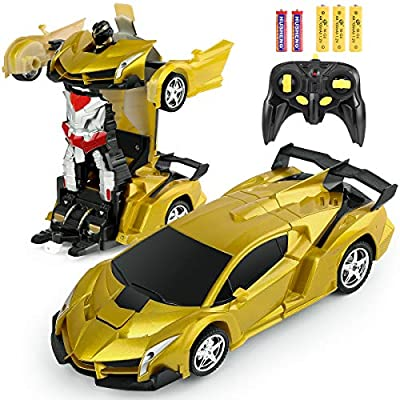 BIFYTON Remote Control Car Transforming Robot, Transform Car Robot with One Button Transformation and 360 Degree Rotating Drifting, RC Cars Robot Toys for Kids Boys and Girls