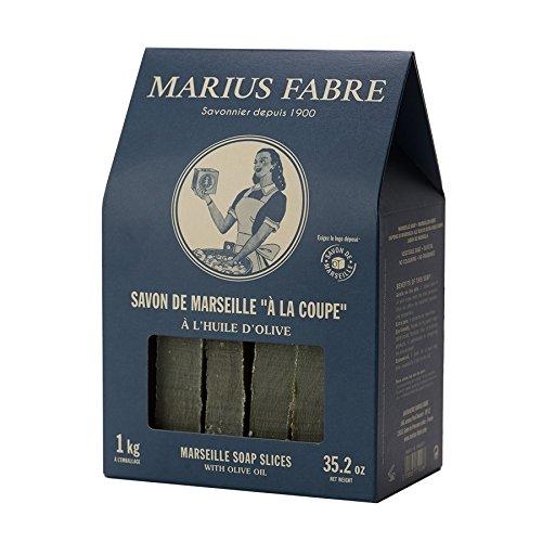 Marius Fabre - Savon de Marseille Brut à la Coupe 1kg à l'Huile d'Olive dans Une Boite maisonnette