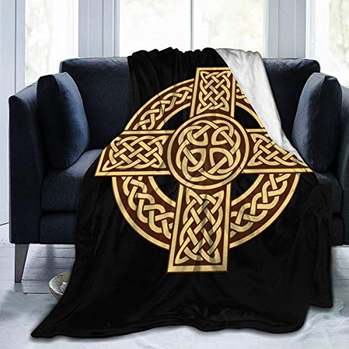 KGHOM Flag Celtic Cross Irish Scottish 3D Print Starry Pattern Flannel Fleece Large Throw Soft Flannel Blanket Decorative Throw for Couch Sofa Bed 50' X 70'