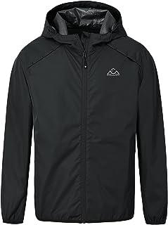 YSENTO Mens Lightweight Waterproof Jackets Packaway Rain Coats Outdoor Hiking Walking Cycling Jackets Hooded