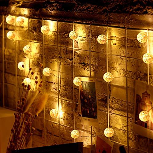 Luces de Cadena de Globos, Luces de Bola de Cristal Crepitante de 23 FT 50 LEDs Funcionadas por Pilas o USB Luces de Hadas de Control Remoto para Cumpleaños Boda Navidad Interior Exterior