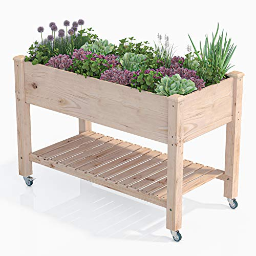 AMZFINE Heavy Duty Wooden Raised Garden Bed Kit with Lockable Wheels/Storage Shelf, Solid Wood Elevated Planter Box -48' L x 24.5' W x 32' H, Natural