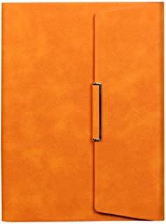 Hxiboj Loose-Leaf Notebook, Soft Cover Leather Travel Writing Magazine A5 Notepad Refillable Notebook, Office Stationery Faux Leather PU Notebook,Orange