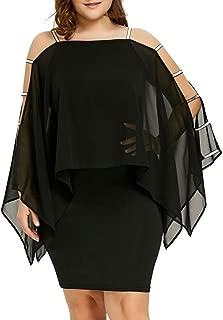 Women's Plus Size Dress, E-Scenery Solid Ladder Cut Overlay Asymmetric Chiffon Strapless Mini Dresses