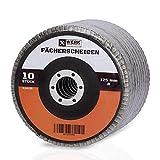 Werk-Partner - Set di dischi abrasivi Premium – 10 x dischi lamellari 125 mm Ø – grana 60 per metallo, acciaio e legno – Disco lamellare per smerigliatrice angolare/Flex