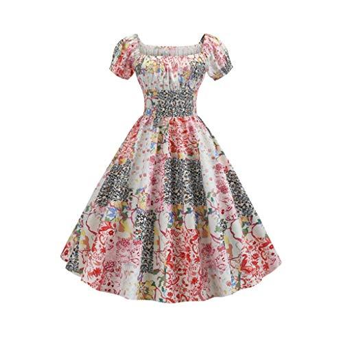YWSZJ Vestido de Verano Mujer con Mangas hinchadas, Robe de Vestido Retro de otoño, Vestido de Fiesta de impresión Floral (Color : B, Size : Medium)