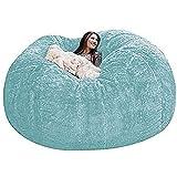 Wancheng Funda para sillas de puf Gigante para Adultos, Grande Redondo Suave Mullido Piel sintética PV Sofás Puff Funda de sofá Cama Perezosa Sin Relleno Muebles de Sala portátiles