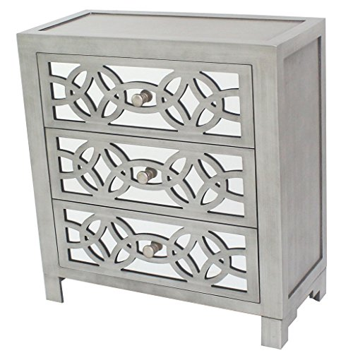 River of Goods Drawer Chest: Glam Slam 3-Drawer Mirrored Wood Cabinet Furniture...