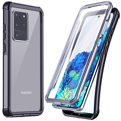 Temdan for Samsung Galaxy S20 Ultra Case, Built-in Screen Protector Full Body Heavy Duty Shockproof Case Support Wireless Charger for Samsung Galaxy S20 Ultra 5G 6.9 inch 2020 (Black)