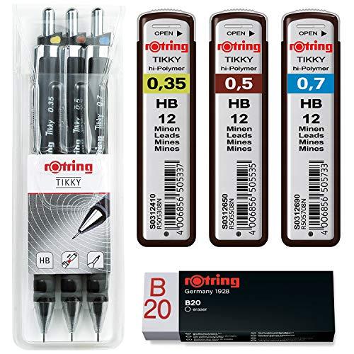 rOtring Tikky 3er Set mit Colourcode 0,35 / 0,5 / 0,7 (mit Ersatzminen HB und Radierer B20)