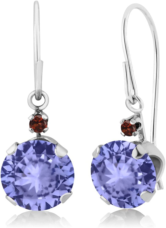 1.84 Ct Round bluee Tanzanite Red Garnet 14K White gold Earrings