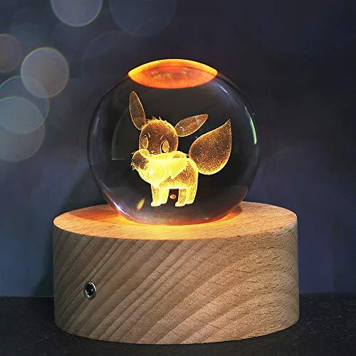 Weihnachts Geschenke für Kinder, 3D Kristallkugel Nachtlicht mit 7 Farben und 16 Farbwechseln, Feiertag Geburtstag Geschenk für Familien/Freunde/Jungen/Mädchen(Eevee)