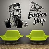 AQjept Adesivo per Finestra da Parete Barbiere Uomo Salone Taglio di Capelli Barba Strumento per Il Viso Logo Salone Decalcomania in vinile101x63cm