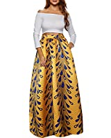 Afibi Women African Printed Casual Maxi Skirt Flared Skirt A Line Long Skirts with Pockets (XX-Large, Pattern 9)