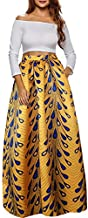 Afibi Women African Printed Casual Maxi Skirt Flared Skirt A Line Long Skirts with Pockets (Large, Pattern 9)