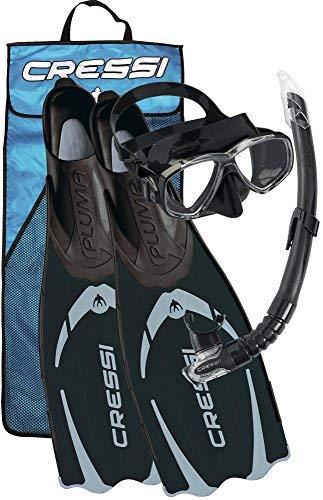 Cressi Pluma Pack de Snorkel, Unisex, Negro/Gris, 43/44 + Premium Anti Fog - Antivaho Spray para Máscara de Buceo/Gafas de Natación, 60 ml