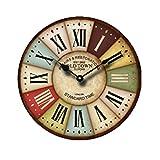 PIXNOR Retro Vintage orologio di parete di legno rotondo