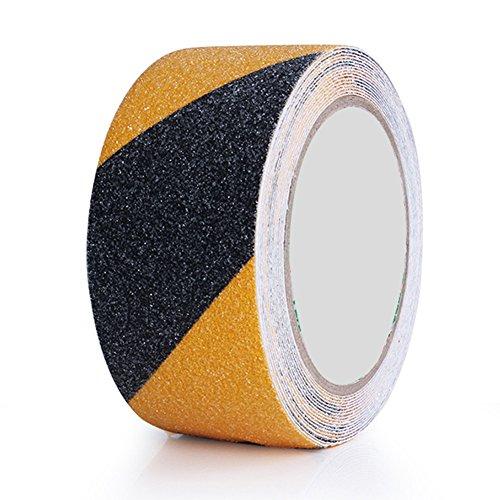 Cinta antideslizante de PVC esmerilado impermeable para escaleras, rampas de silla de ruedas, escaleras, fuegos, 5 m x 5 cm x 0,75 mm Tamaño libre blanco/amarillo