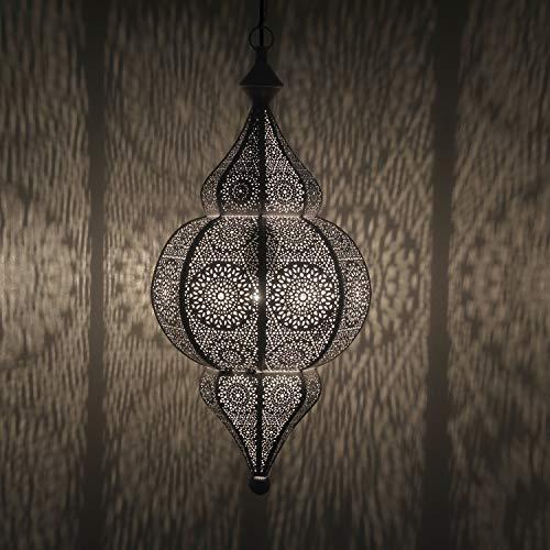 Casa Moro Orientalische Lampe Jamila weiss mit Aufhängekette Baldachin & E27 Fassung | Kunsthandwerk | Prachtvolle Pendelleuchte wie aus 1001 Nacht | LN2020