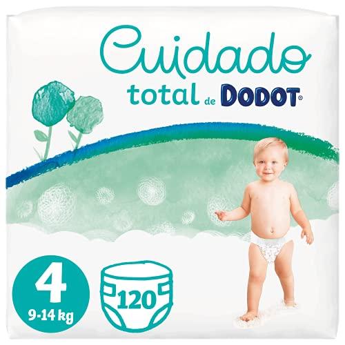 Dodot Pañales Bebé Cuidado Total Talla 4 (9-14 kg), 120 Pañales, Suave Protección de la Piel de Dodot con Ingredientes de Origen Vegetal