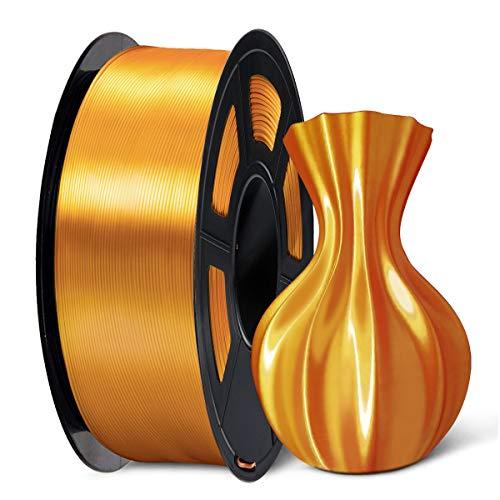 SUNLU 3D Filament 1.75, Shiny Silk PLA Filament 1.75mm, 1KG PLA Filament 0.02mm for 3D Printer 3D Pens, Brass