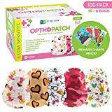Kids Eye Patches - Fun Girls Design - 90 + 10 Bonus Latex Free Hypoallergenic Cotton Adhesive Bandages For Amblyopia and...