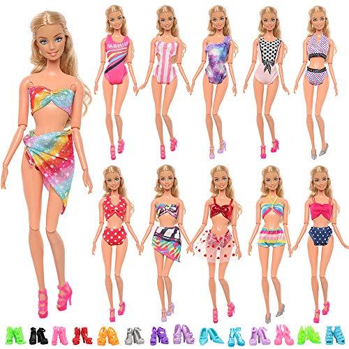 Miunana 4 Trajes De Baño + 6 Bikini + 10 PCS Zapatos Seleccionadas Al Azar para Barbie Muñeca De 11,5 Pulgadas / 30 cm (NO Incluye MUÑECA)