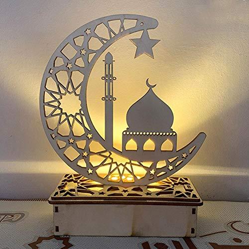 Holz Eid Mubarak Moon Star Islam Anhänger Mit LED-Lichtern, Dekoration Für Partys Zu Hause, Mond Sterne Vorhang Lichter Ramadan EId String Licht Islamischen Muslimischen