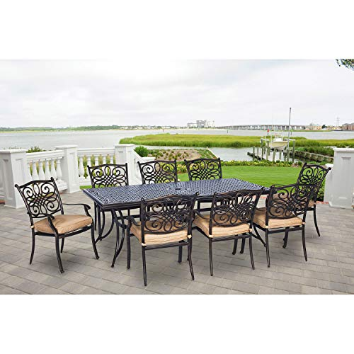 Hanover TRADDN9PC Traditions 9-Piece Aluminum Rust-Free Patio Dining Set Outdoor Furniture, Tan