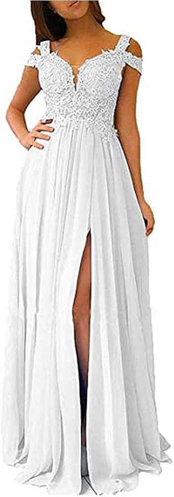 Aoligrace Women Chiffon V Popular overseas Credence Neck Bridesmaid Beaded Dress Slit High