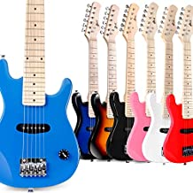 WINZZ 30 Inches Real Kids Electric Guitar with Beginner Kit, Right Handed, Blue