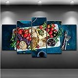 Hyiiw 5 Stücke Obst Lebensmittel Kekse Malerei Wohnzimmer Wandkunst Moderne Wohnkultur Leinwand Bilder Hd Gedruckt Küche Poster-20X35Cmx2/20X45Cmx2/20X55Cmx1