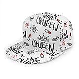 Nicokee Gorra de béisbol Queen Hat Diamond Lipstick Crown Sexy Girl Women Flat Snapback Hat ajustable Track Hat for Men Women