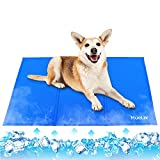 HueLiv Dog Cooling Mat, XL Large Pet Cool Mat for Bed 90x60cm, Dog Cat Ice Mat Self Cooling Gel, Non-Toxic Activated Gel Waterproof Cooling Pad, Great for Pets to Stay Cool This Summer, Blue(36x24IN)