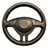 Without Adatto per BMW E46 325i X5 E53 E39 Copertura del Volante in Pelle Artificiale a Punto a Mano (Color Name : Black Thread)