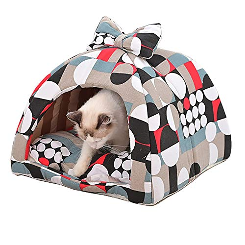 MAATCHH Pet Tent Pet Dog Cat Bed Removable Cover for Dogs & Cats Pet House Pet Bed Thick Warm (Color : Green, Size : M)