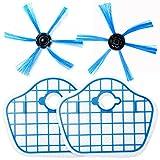 HUAYUWA - Juego de 2 cepillos laterales con filtro HEPA para Philips Robot FC8013 FC8774 FC8772 FC8776 Partes de reparación