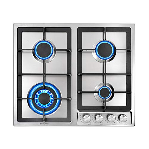 Gasland Chef GH60SF 60cm Built-in Gas Cooktop, 4 Burners Stainless Steel Gas Hob Cooker with Flame Failure Protection