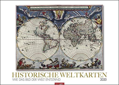 Historische Weltkarten: Wie das Bild der Welt entstand. Wandkalender 2020. Monatskalendarium. Spiralbindung. Format 68 x 49 cm