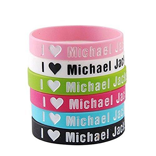 6 pulseras de silicona con texto 'I Love Michael Jackson'