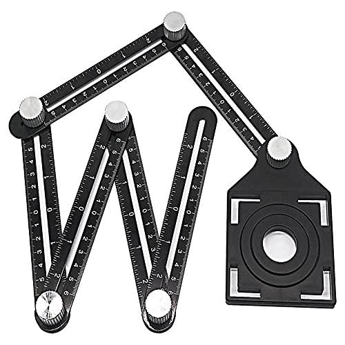Herramientas de medición Herramienta de ángulo de plantilla de regla plegable de seis caras, diapositivas de mecanismo con el instrumento de medición del posicionamiento de la baldosa del localizador