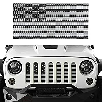 Hooke Road Wrangler Grill Insert US Flag Front Mesh Grille Screen Bug Deflector for 2007-2018 Jeep Wrangler JK & Wrangler Unlimited  Black&White Old Glory