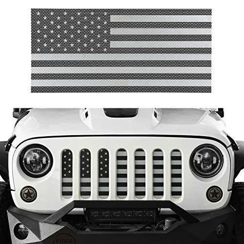Hooke Road Wrangler Grill Insert US Flag Front Mesh Grille Screen Bug Deflector for 2007-2018 Jeep Wrangler JK & Wrangler Unlimited (Black&White Old Glory)